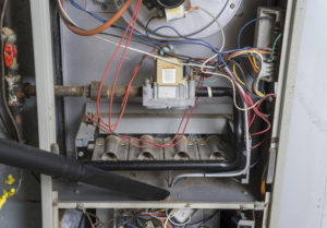 close up of inside of a home heating furnace